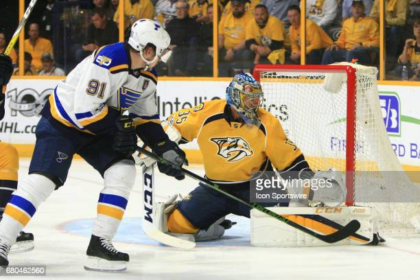 Nashville Predators goalie Pekka Rinne makes a pad save on St Louis Blues right wing Vladimir Tarasenko during Game Six of Round Two of the Stanley...