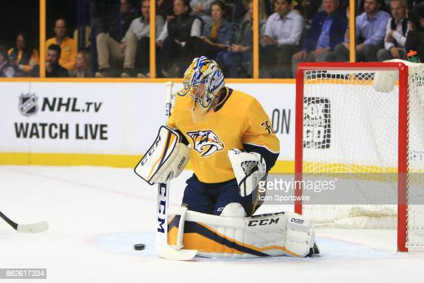 Nashville Predators goalie Pekka Rinne makes a save during the NHL game between the Nashville Predators and the Colorado Avalanche held on October 17...