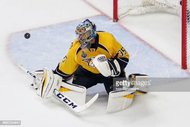 Nashville Predators goalie Pekka Rinne makes save during game 6 of the 2017 NHL Stanley Cup Finals between the Pittsburgh Penguins and Nashville...