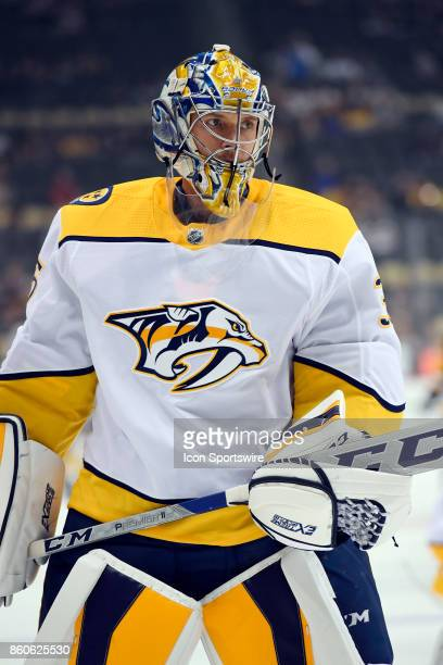 Nashville Predators Goalie Pekka Rinne warms up before the NHL game between the Pittsburgh Penguins and the Nashville Predators on October 7 at PPG...