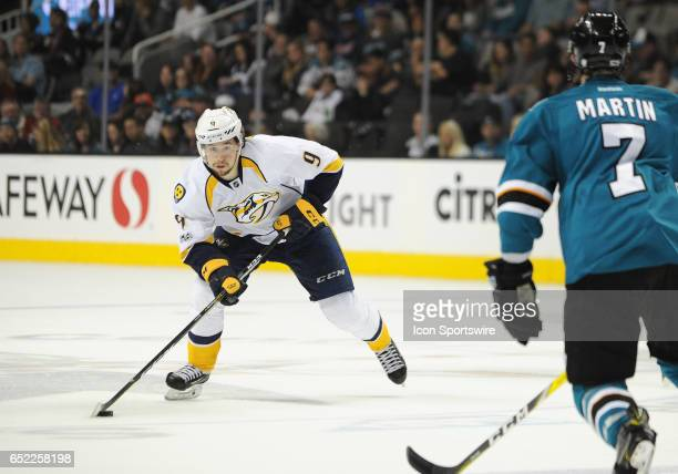 Nashville Predators left wing Filiip Forsberg skates with the puck during a NHL hockey game between the Nashville Predators and the San Jose Sharks...