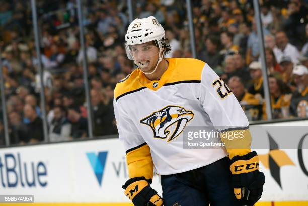 Nashville Predators left wing Kevin Fiala during an NHL game between the Boston Bruins and the Nashville Predators on October 5 at TD Garden in...
