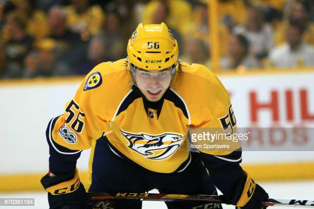 Nashville Predators left wing Kevin Fiala is shown during game three of Round One of the Stanley Cup Playoffs between the Nashville Predators and the...