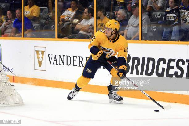 Nashville Predators left wing Kevin Fiala is shown during the NHL preseason game between the Nashville Predators and the Columbus Blue Jackets held...