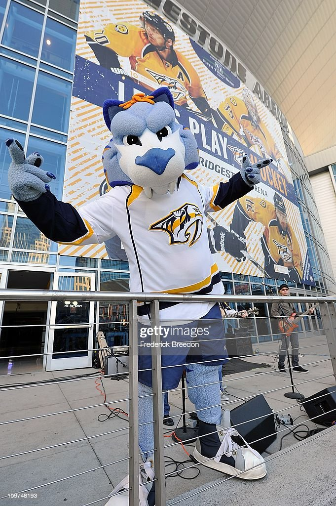 Nashville Predators mascot Gnash poses for photo at a pre-game rally prior to the season opener against the Columbus Blue Jackets at Bridgestone Arena on January 19, 2013 in Nashville, Tennessee.