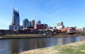 Nashville Skyline as photographed from the Nashville Riverfront in Nashville Tennessee on NOVEMBER 24 2013