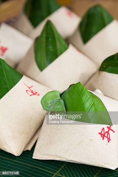 Nasi lemak snack wrapped in banana leaf