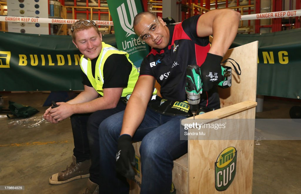 Nasi Manu of Canterbury displays his workmanship during the 2013 launch of the ITM Cup at Unitec on August 6, 2013 in Auckland, New Zealand.