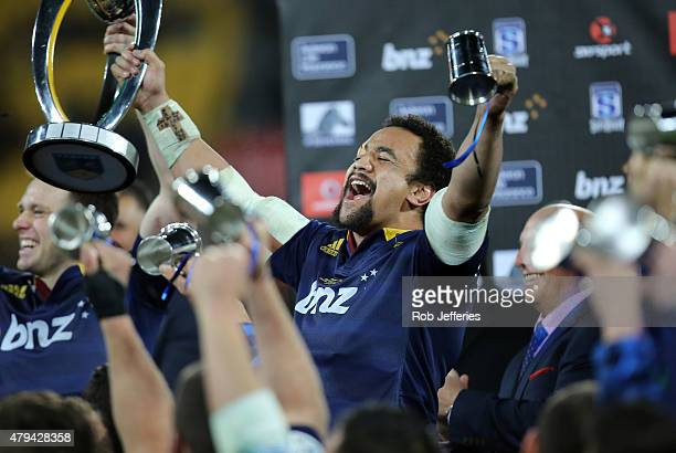 Nasi Manu of the Highlanders celebrates winning the Super Rugby Title between the Hurricanes and the Highlanders at Westpac Stadium on July 4 2015 in...