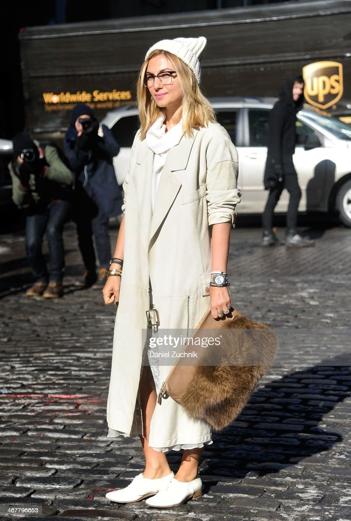 Nasiba Adilova is seen outside the Jason Wu show on February 7, 2014 in New York City.
