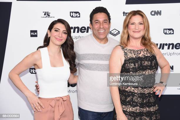Nasim Pedrad Oscar Martinez and Ana Gasteyer attend the Turner Upfront 2017 arrivals on the red carpet at The Theater at Madison Square Garden on May...
