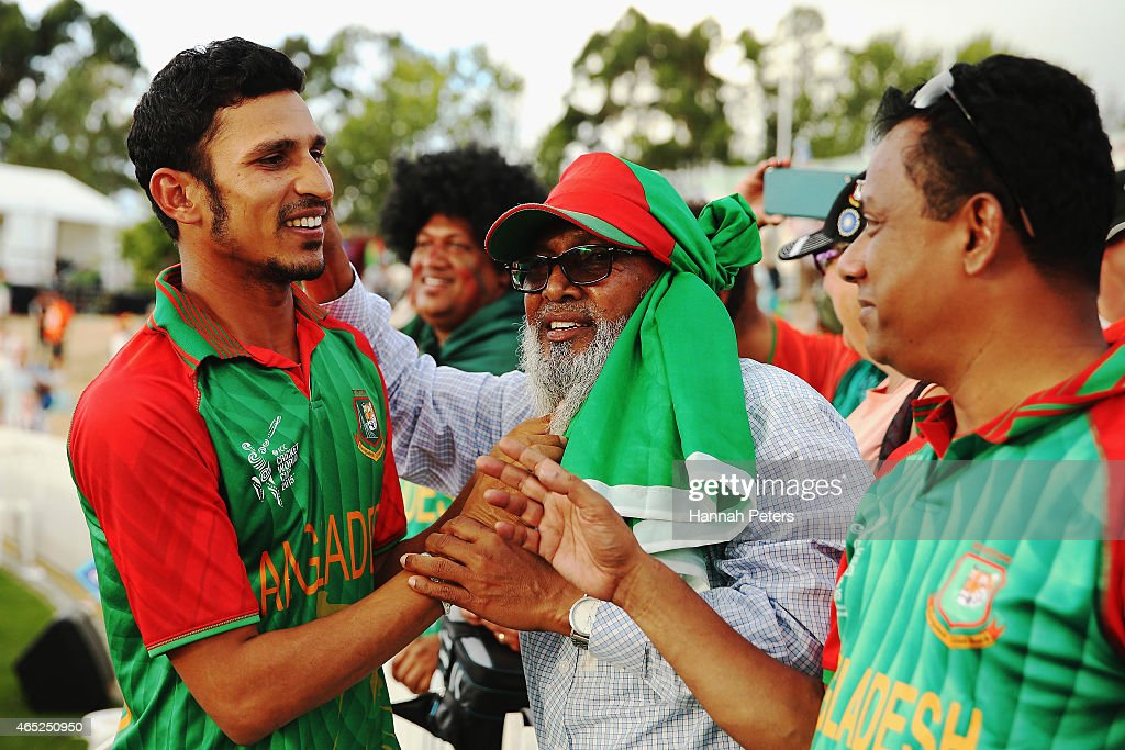 <a gi-track='captionPersonalityLinkClicked' href=/galleries/search?phrase=Nasir+Hossain&family=editorial&specificpeople=4879926 ng-click='$event.stopPropagation()'>Nasir Hossain</a> of Bangladesh celebrates with fans after winning the 2015 ICC Cricket World Cup match between Bangladesh and Scotland at Saxton Field on March 5, 2015 in Nelson, New Zealand.