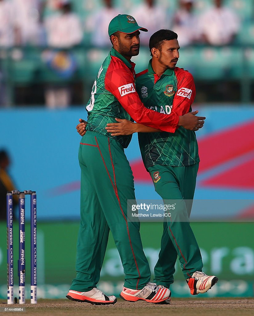 <a gi-track='captionPersonalityLinkClicked' href=/galleries/search?phrase=Nasir+Hossain&family=editorial&specificpeople=4879926 ng-click='$event.stopPropagation()'>Nasir Hossain</a> of Bangladesh is congratulated, after bowling Stephan Myburgh of the Netherlands during the ICC Twenty20 World Cup match between Bangladesh and Netherlands at HPCA Stadium on March 9, 2016 in Dharamsala, India.