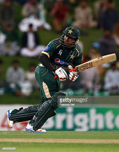 Nasir Jamshed of Pakistan bats during the 4th One Day International match between Pakistan and New Zealand at Sheikh Zayed Stadium on December 17...