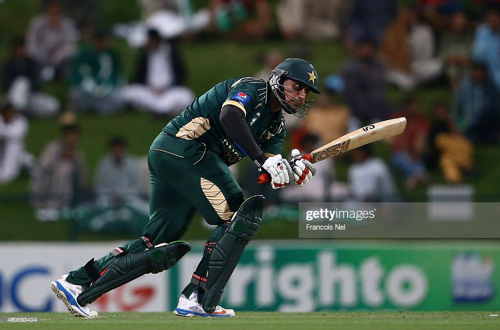<a gi-track='captionPersonalityLinkClicked' href=/galleries/search?phrase=Nasir+Jamshed&family=editorial&specificpeople=4819500 ng-click='$event.stopPropagation()'>Nasir Jamshed</a> of Pakistan bats during the 4th One Day International match between Pakistan and New Zealand at Sheikh Zayed Stadium on December 17, 2014 in Abu Dhabi, United Arab Emirates.