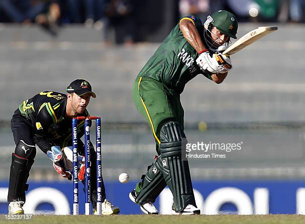 Nasir Jamshed of Pakistan bats during the ICC T20 World Cup Super Eight group 2 cricket match between Australia and Pakistan at R Premadasa Stadium...