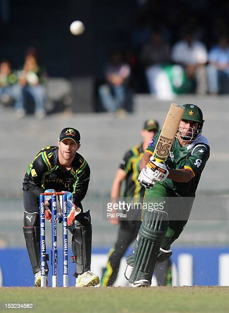 Nasir Jamshed of Pakistan bats during the ICC World Twenty20 2012 Super Eights Group 2 match between Australia and Pakistan at R Premadasa Stadium on...
