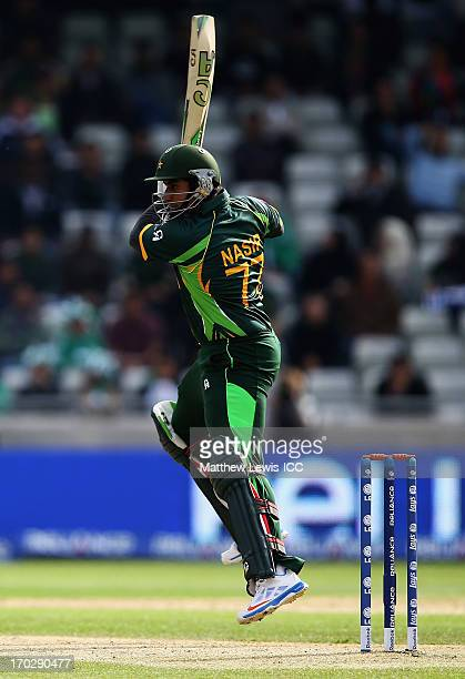 Nasir Jamshed of Pakistan hits the ball towards the boundary during the ICC Champions Trophy Group B match between Pakistan and South Africa at...