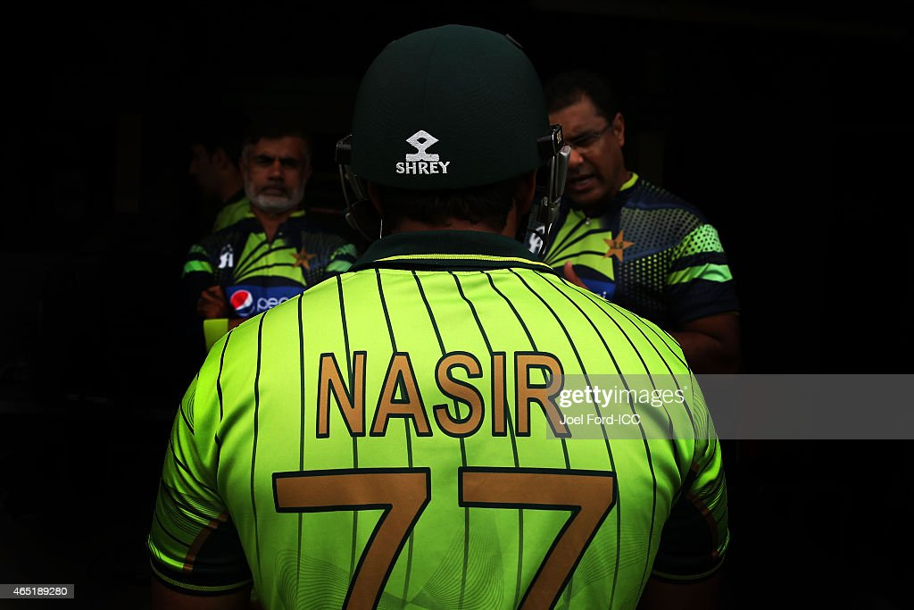 <a gi-track='captionPersonalityLinkClicked' href=/galleries/search?phrase=Nasir+Jamshed&family=editorial&specificpeople=4819500 ng-click='$event.stopPropagation()'>Nasir Jamshed</a> of Pakistan speaks with coaches before heading out to bat during the 2015 ICC Cricket World Cup match between Pakistan and the United Arab Emirates at McLean Park on March 4, 2015 in Napier, New Zealand.