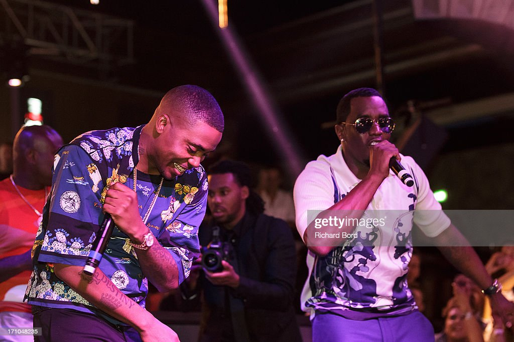 Nasire 'Nas' Jones and Sean 'Diddy' Combs perform onstage at Gotha Night Club during Cannes Lions International Festival of Creativity at Gotha Night Club on June 21, 2013 in Cannes, France.