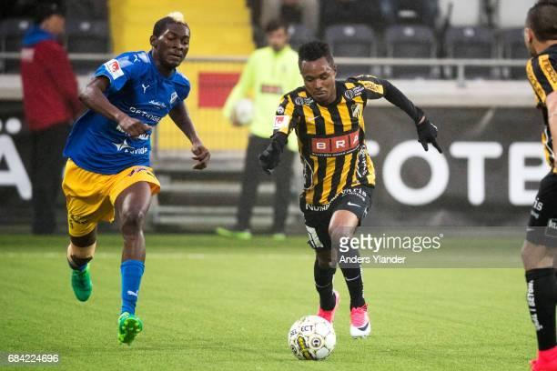 Nasiru Mohammed of BK Hacken and Aboubakar Keita of Halmstad BK competes for the ball during the Allsvenskan match between BK Hacken and Halmstad BK...