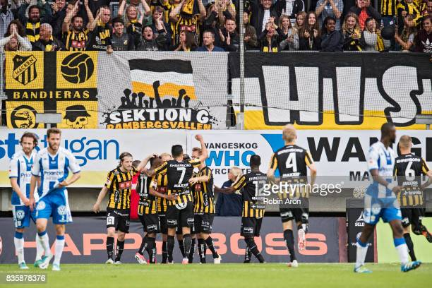 Nasiru Mohammed of BK Hacken celebrates with teammates after scoring 11 during the Allsvenskan match between IFK Goteborg and BK Hacken at Gamla...