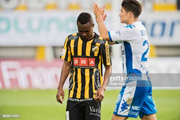 Nasiru Mohammed of BK Hacken dejected after the Allsvenskan match between IFK Goteborg and BK Hacken at Gamla Ullevi on August 20 2017 in Gothenburg...