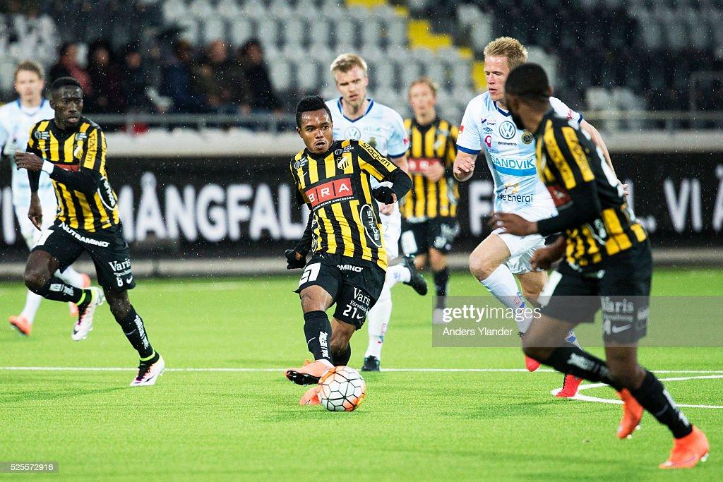 Nasiru Mohammed of BK Hacken shoots during the Allsvenskan match between BK Hacken and Gefle IF at Bravida Arena on April 28, 2016 in Gothenburg, Sweden.