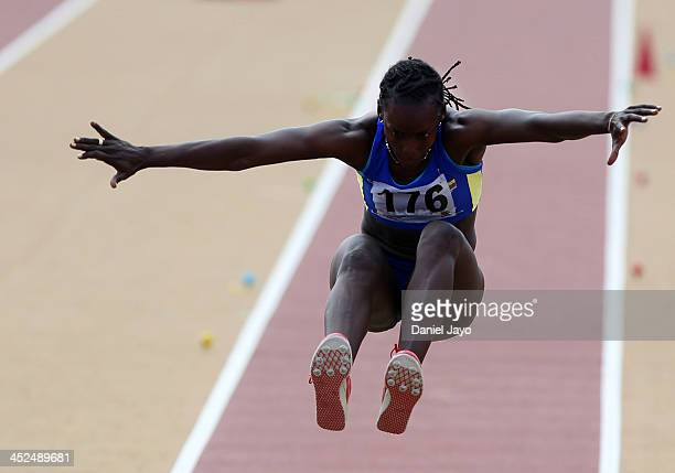 Nasli Perea of Colombia competes in women's heptathlon long jump semifinals event as part of the XVII Bolivarian Games Trujillo 2013 at Gran Chimu...