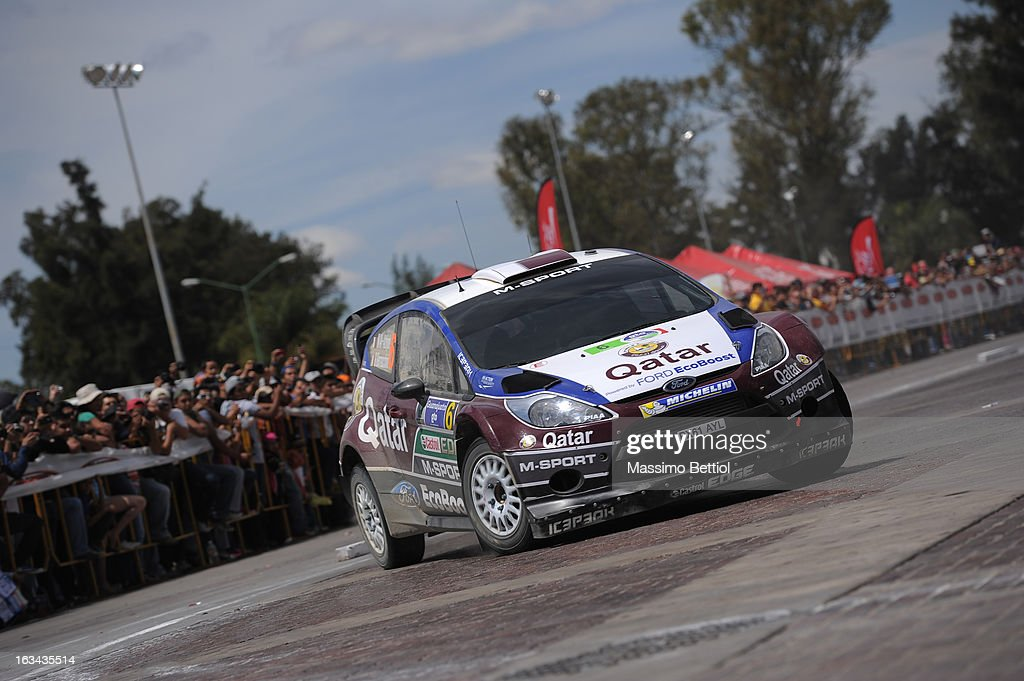 Nasser Al Attiyah of Qatar and Giovanni Bernacchini of Italy compete in their Qatar WRT Ford Fiesta RS WRC during Day Two of the WRC Mexico on March 09, 2013 in Leon, Mexico.