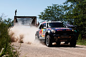 Nasser Al Attiyah of Qatar and Mathieu Baumel of France for the ALL4 Racing Mini Qatar Rally Team compete during day 1 of the Dakar Rallly on January...