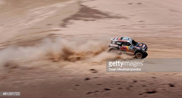 Nasser Al Attiyah of Qatar and Mathieu Baumel of France for the ALL4 Racing Mini Qatar Rally Team compete during day 5 of the Dakar Rallly on January...