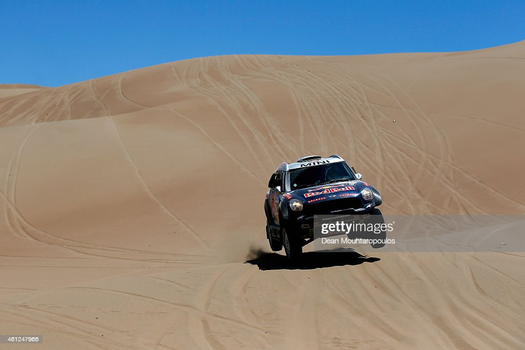 Nasser Al Attiyah of Qatar and Mathieu Baumel of France for the ALL4 Racing Mini Qatar Rally Team compete during day 6 of the Dakar Rallly between...