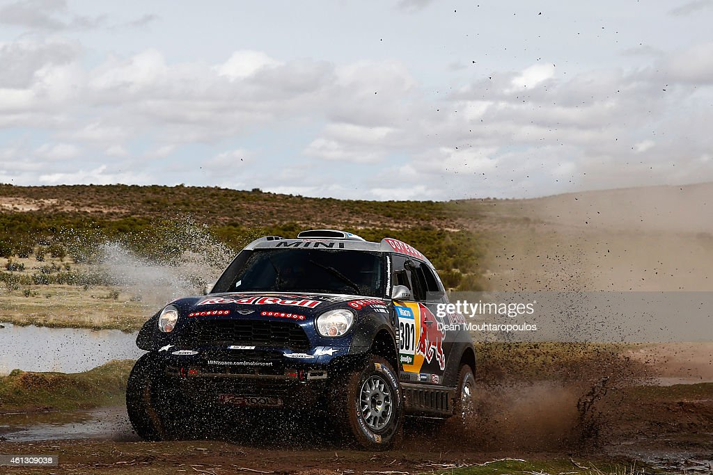 Nasser Al Attiyah of Qatar and Mathieu Baumel of France for the ALL4 Racing Mini Qatar Rally Team compete during day 7 of the Dakar Rallly between...