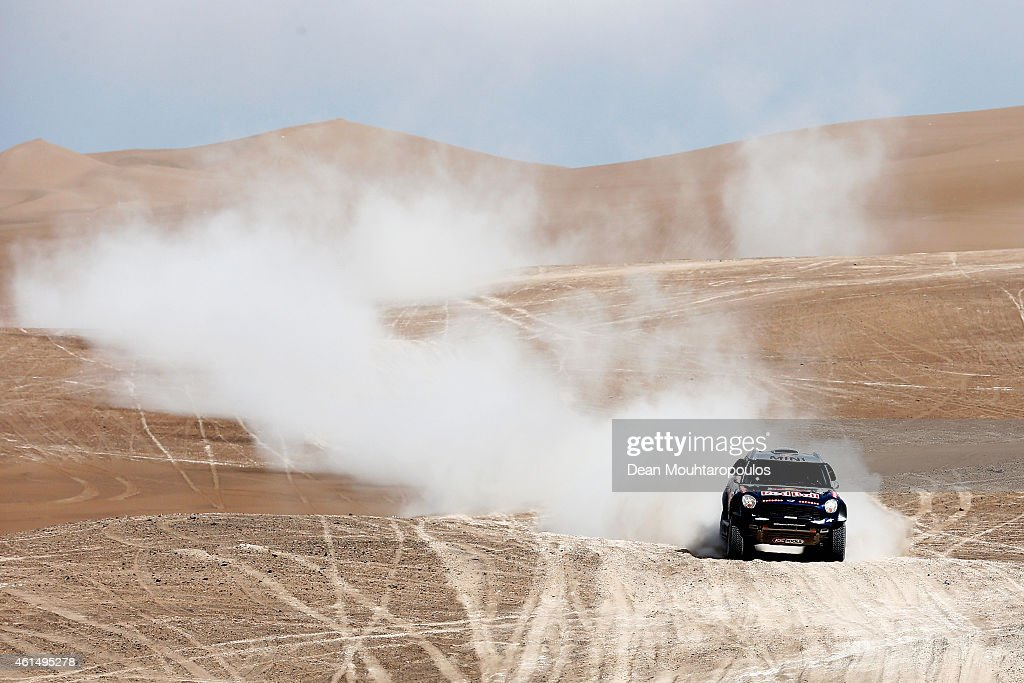 Nasser Al Attiyah of Qatar and Mathieu Baumel of France for the ALL4 Racing Mini Qatar Rally Team compete in the Atacama Desert during day 10 of the...