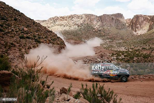 Nasser Al Attiyah of Qatar and Mathieu Baumel of France for the ALL4 Racing Mini Qatar Rally Team compete near the Salinas Grandes during Stage 10 on...
