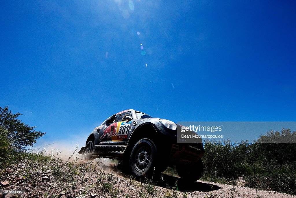 Nasser Al Attiyah of Qatar and Mathieu Baumel of France for the ALL4 Racing Mini Qatar Rally Team compete during Stage 12 on day 13 of the Dakar...
