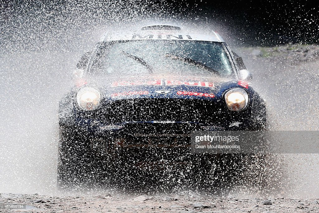 Nasser Al Attiyah of Qatar and Mathieu Baumel of France for the ALL4 Racing Mini Qatar Rally Team compete during Stage 11 on day 12 of the Dakar...