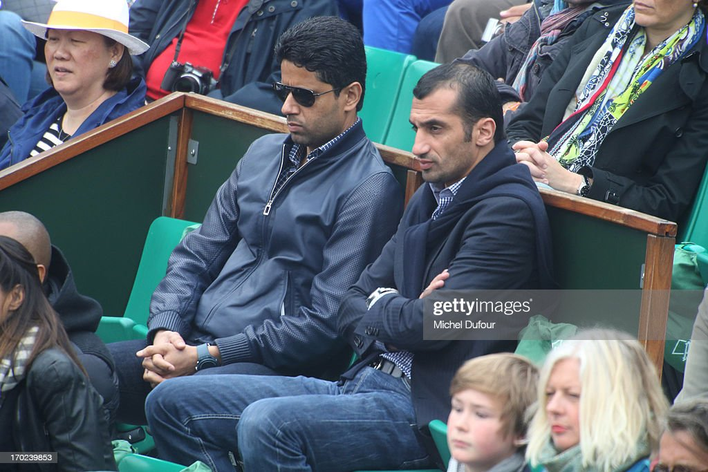 Nasser Al Khelaifi is seen attending the French Open 2013 - Day 15 at Roland Garros on June 9, 2013 in Paris, France.