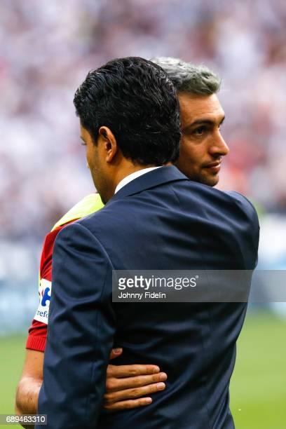 Nasser Al Khelaifi president and Javier Pastore of Paris Saint Germain before the National Cup Final match between Angers SCO and Paris Saint Germain...