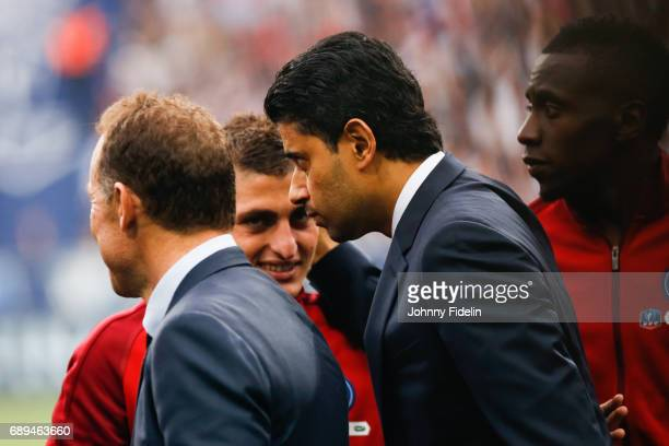 Nasser Al Khelaifi president and Marco Verratti of Paris Saint Germain before the National Cup Final match between Angers SCO and Paris Saint Germain...