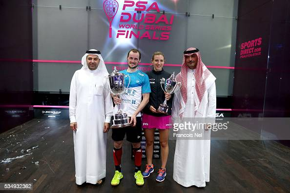Nasser Al Rahma Director of Sports Events Duabi Sports Council Gregory Gaultier of France Laura Massaro of England and Ziad AlTurki PSA Chairman is...