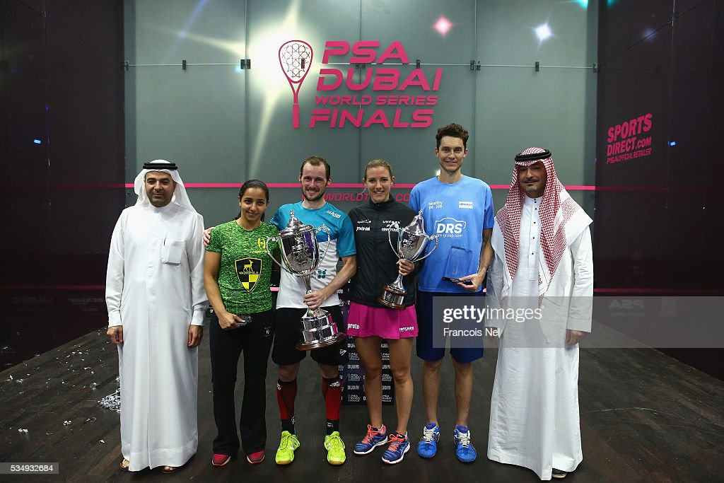 Nasser Al Rahma, Director of Sports Events Duabi Sports Council, Raneem El Welily of Egypt, Gregory Gaultier of France, Laura Massaro of England Cameron Pilley of Australia and Ziad Al-Turki, PSA Chairman is pictured after final match of the PSA Dubai World Series Finals 2016 at Burj Park on May 28, 2016 in Dubai, United Arab Emirates.