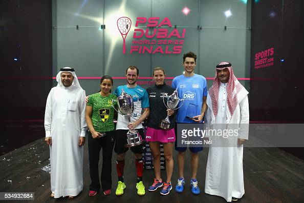 Nasser Al Rahma Director of Sports Events Duabi Sports Council Raneem El Welily of Egypt Gregory Gaultier of France Laura Massaro of England Cameron...