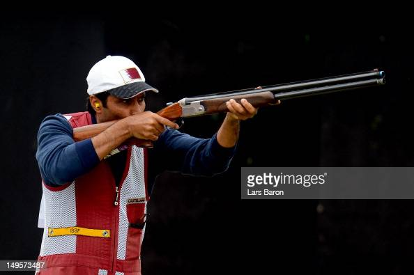 Nasser AlAttiya of Qatar competes in the Men's Skeet Shooting final round on Day 4 of the London 2012 Olympic Games at The Royal Artillery Barracks...