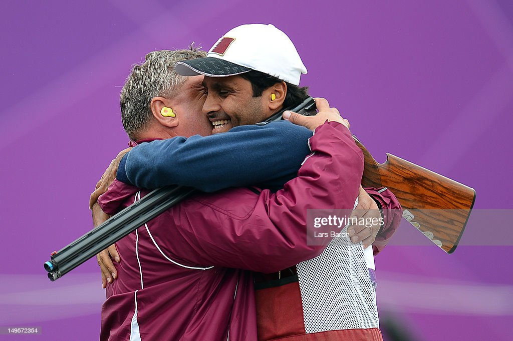 Nasser Al-Attiya of Qatar reacts after competing in the Men's Skeet Shooting final round on Day 4 of the London 2012 Olympic Games at The Royal Artillery Barracks on July 31, 2012 in London, England.