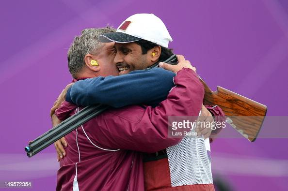 Nasser AlAttiya of Qatar reacts after competing in the Men's Skeet Shooting final round on Day 4 of the London 2012 Olympic Games at The Royal...