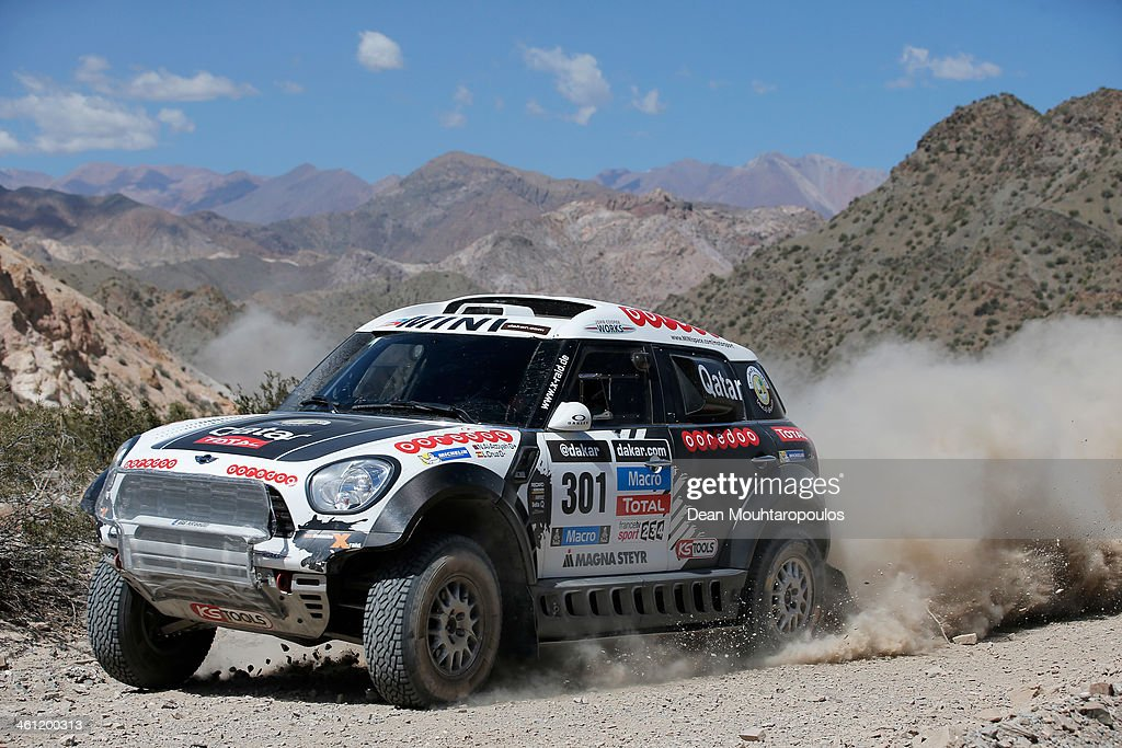 Nasser AlAttiyah of Qatar and Lucas Cruz of Spain for MINI compete on Day 3 of the Dakar Rally 2014 on January 7 2014 in Uspallata Argentina