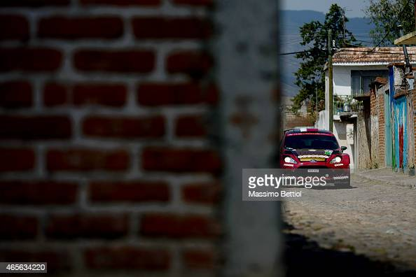 Nasser AlAttiyah of Qatar and Matthieu Baumel of France compete in their Ford Fiesta RRC during Day Three of the WRC Mexico on March 8 2015 in Leon...