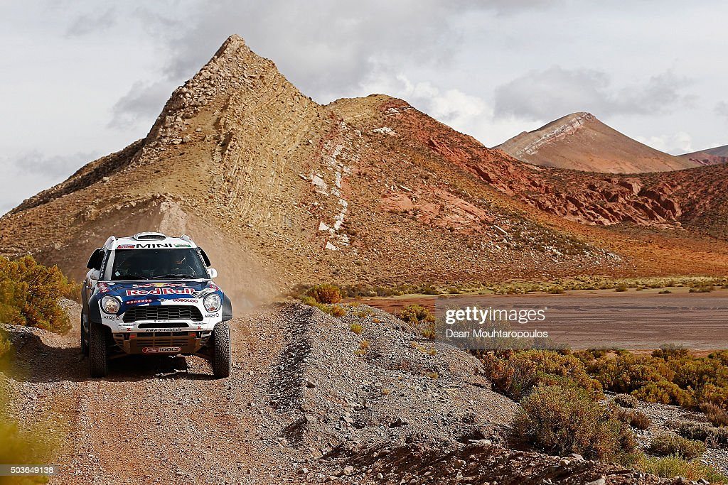 <a gi-track='captionPersonalityLinkClicked' href=/galleries/search?phrase=Nasser+Al-Attiyah&family=editorial&specificpeople=2247125 ng-click='$event.stopPropagation()'>Nasser Al-Attiyah</a> of Qatar and Matthieu Baumel of France in the MINI ALL4 RACING for AXION X-RAID TEAM compete on day 4 in the San Salvador de Jujuy stage four of the 2016 Dakar Rally on January 6, 2016 close to Purmamarca, Argentina.